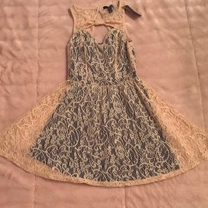 Material Girl Beige Lace Dress with Bow & Slip